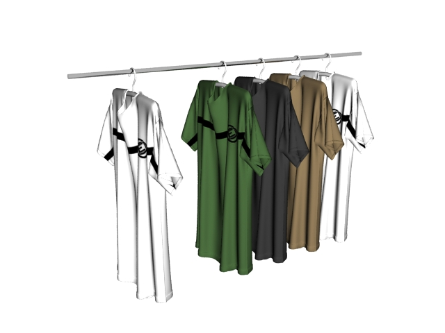 T-shirts on clothes rack 3d rendering