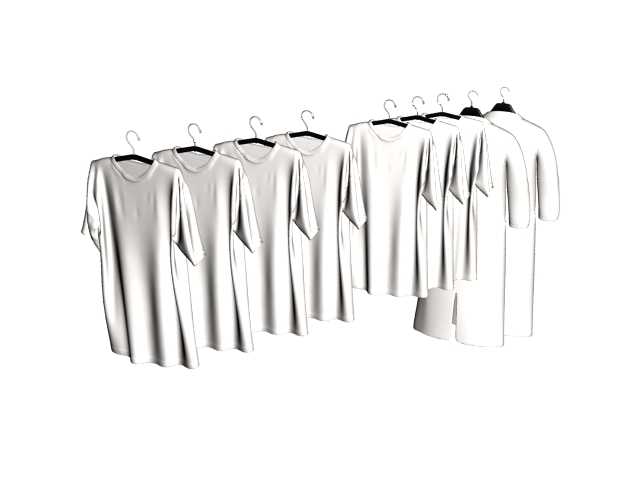 Tee-shirts on clothes rack 3d rendering
