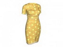 Yellow cheongsam dress 3d preview