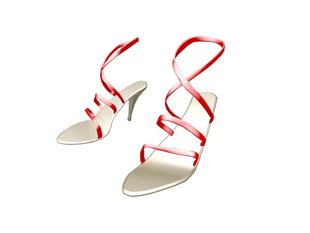 Sandals for women with heels 3d rendering