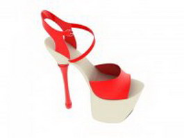 Platform sandals heels 3d preview