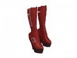 Women's Goth platform boots 3d model preview