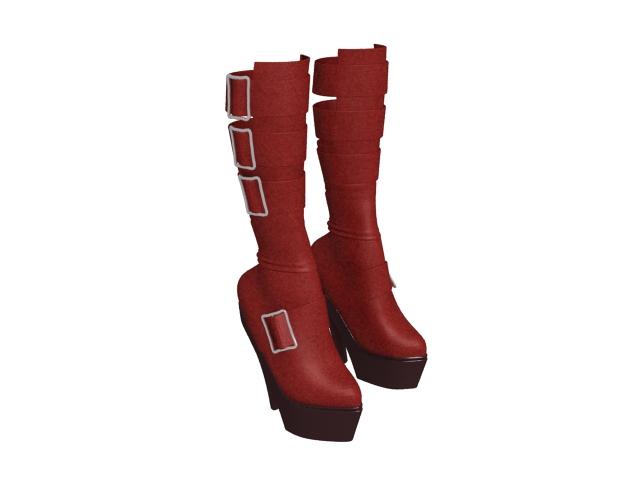 Women's Goth platform boots 3d rendering