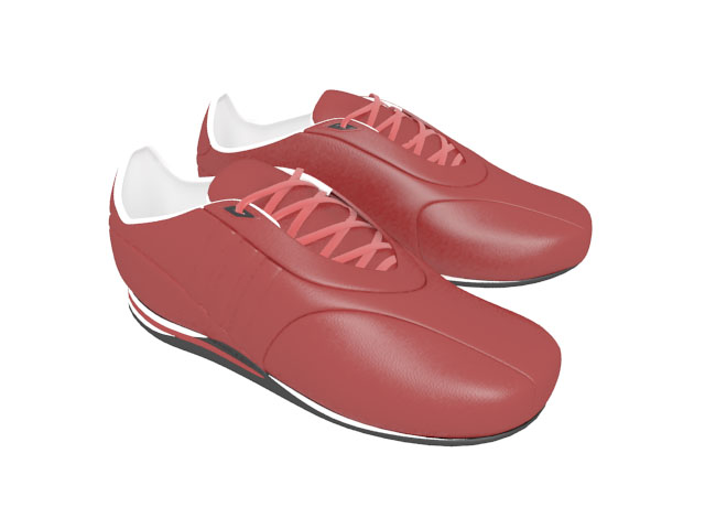 Women's red athletic shoes 3d rendering