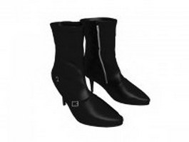 Black ankle boots for women 3d model preview