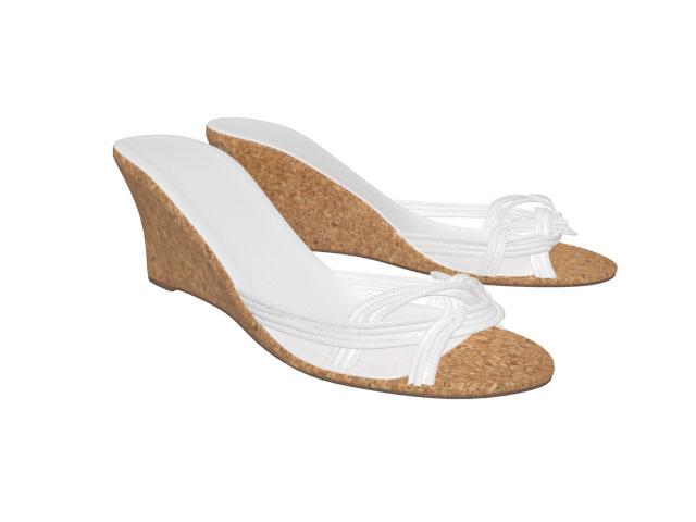 Slip on Wedge sandals 3d rendering