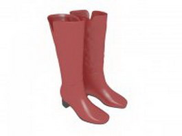 Knee high red boots for women 3d model preview