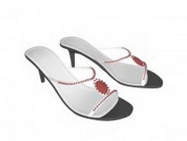 White mule sandals 3d preview