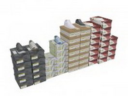 Shoes piled on shoe boxes 3d preview