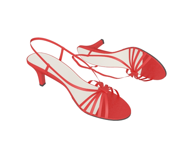 Red sandals for girls 3d rendering
