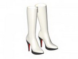Winter white leather boots 3d preview