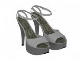 Women's platform sandals shoes 3d model preview