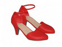 Women's red ballroom shoes 3d model preview