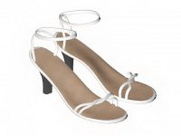 Women's sandals with straps 3d model preview