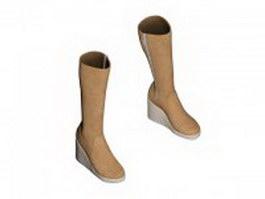 Women's platform wedge boot 3d model preview