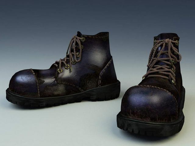 Worn work boots for men 3d rendering