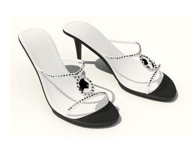 High heel mules sandals 3d rendering