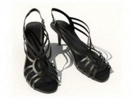 Women's black sandals 3d preview