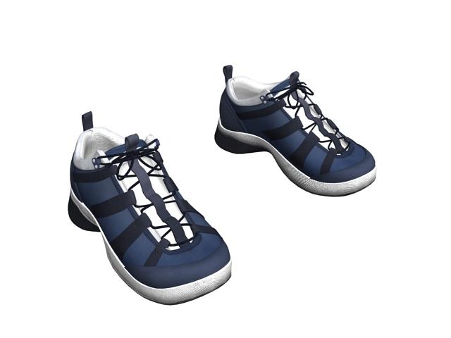Men's running shoes blue 3d rendering