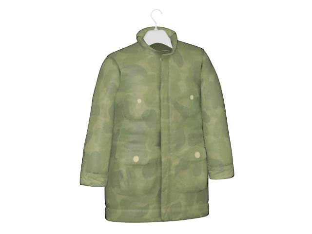 Camouflage coat on hanger 3d rendering