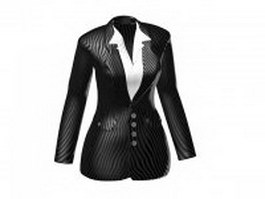 Suit jacket with shirt for women 3d model preview
