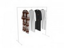 T-shirts hanging on rack 3d preview