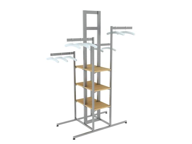 Steel garment rack 3d rendering