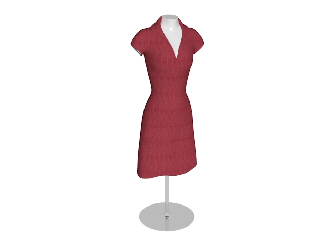 Female dress form mannequin display stand 3d rendering