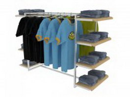 Clothing store display rack 3d preview