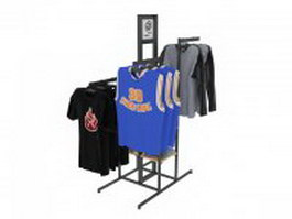 Clothes hanging on rack 3d preview