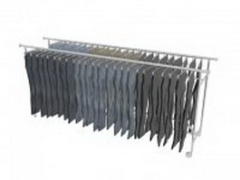 Trousers hanging on rack 3d preview
