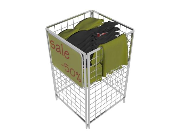 Clothes in storage basket 3d rendering