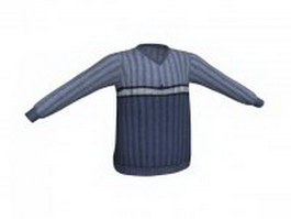 Dark blue pullover sweater 3d preview