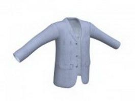 Light blue suit jacket for men 3d preview