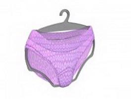 Women underwear printed panties 3d model preview