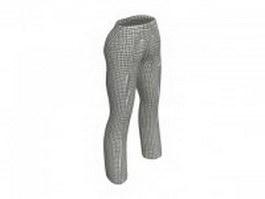 Plaid pants for women 3d model preview