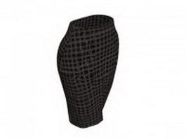 Brown tweed pencil skirt 3d model preview
