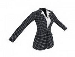 Plaid suit jacket for women 3d preview