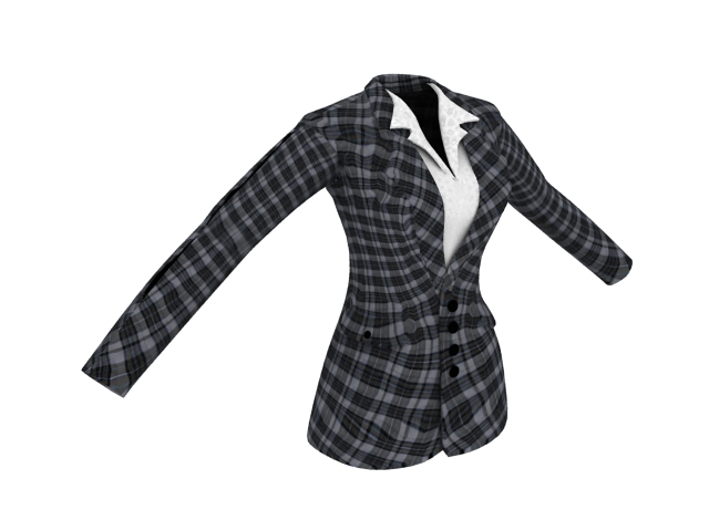 Plaid suit jacket for women 3d rendering