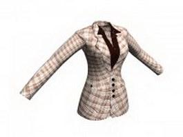 Women's plaid suit jacket 3d preview