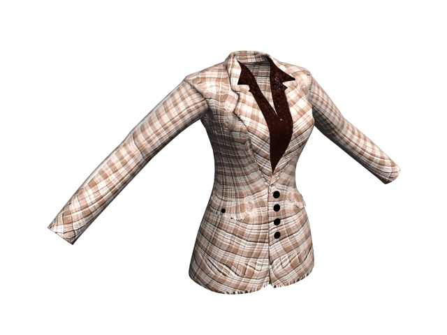 Women's plaid suit jacket 3d rendering