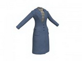 Women's overcoat and scarf 3d preview