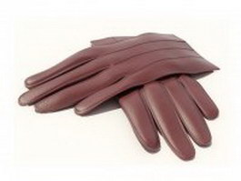 Brown leather glove 3d model preview