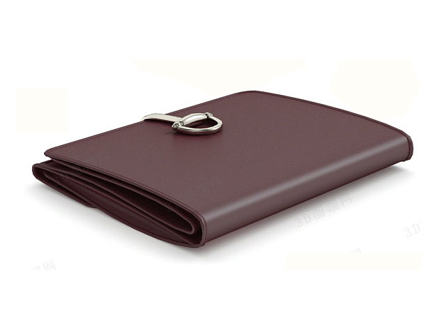 Leather trifold wallet 3d rendering