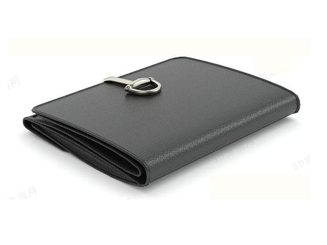 Black bifold wallet 3d rendering