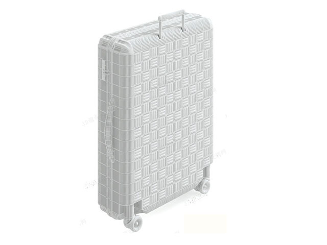 Luggage bag with wheeled 3d rendering