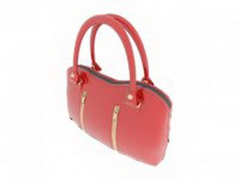 Red patent leather handbag 3d model preview