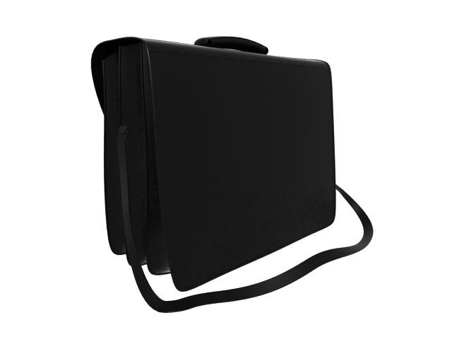 Black leather briefcase 3d rendering