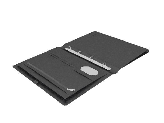 Black briefcase folder case 3d rendering