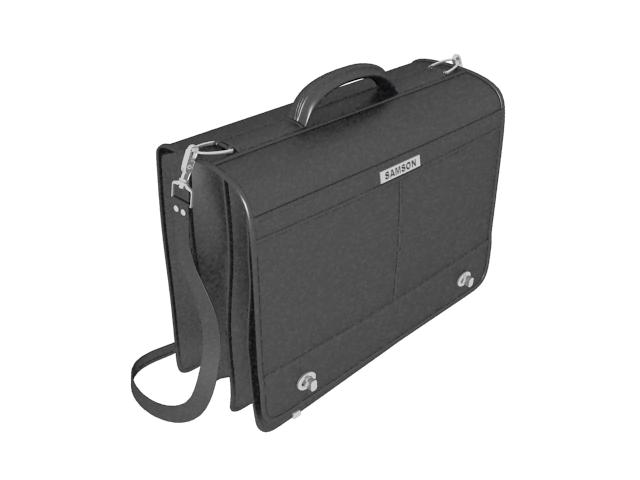 Black briefcase portfolio bag 3d rendering
